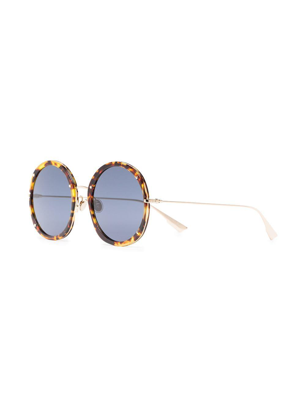 64cda6d7458 Dior Yellow And Black 56 Round Metallic Sunglasses in Brown - Lyst