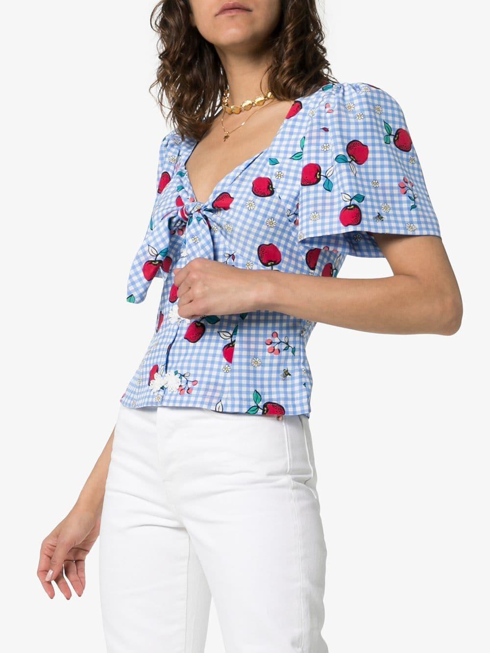 Blusa con estampado de manzanas con detalle de lazo Rebecca de Ravenel de color Azul