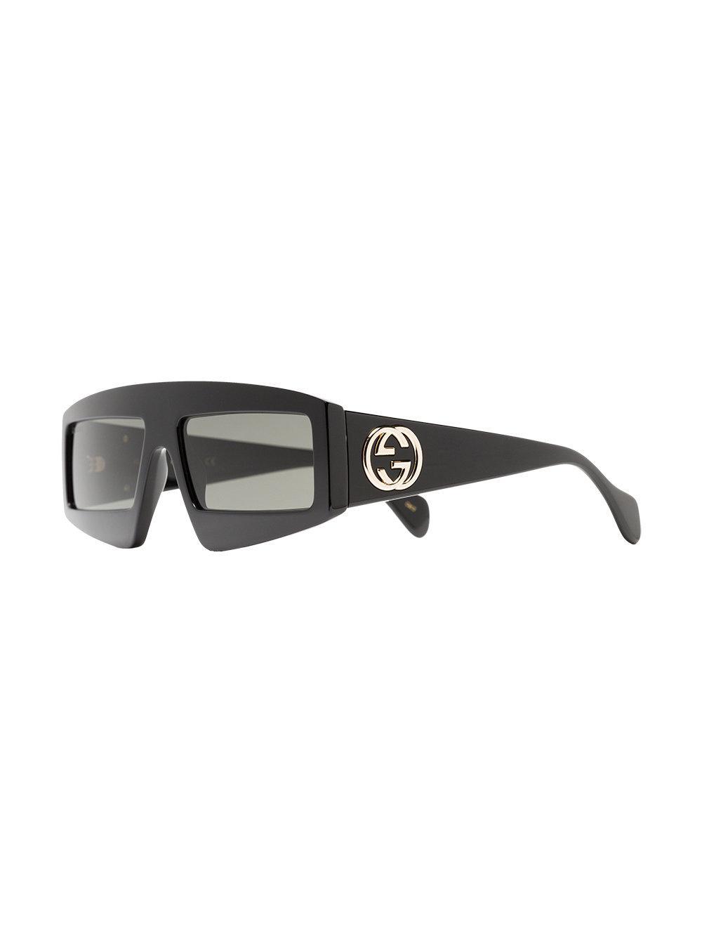 b47f107a9ed Lyst - Gucci Black Rectangular-frame Sunglasses in Black for Men
