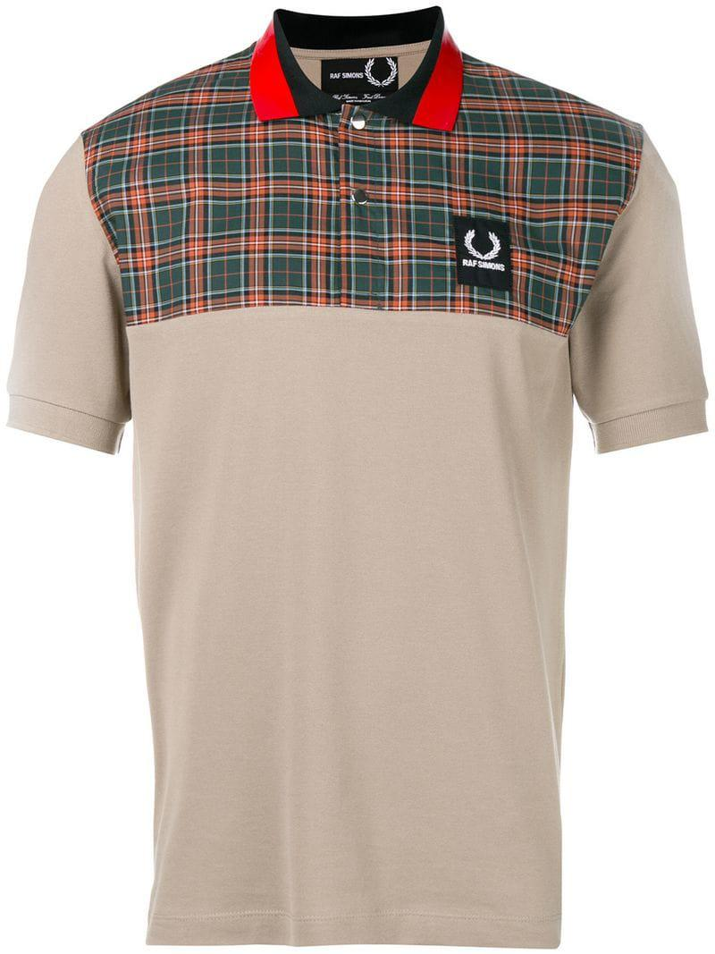 c8cc4bb3412b Lyst - Fred Perry Colourblock Plaid Polo Shirt in Gray for Men