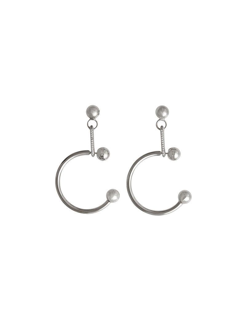 Burberry Crystal Charm Palladium-plated Hoop Earrings - Metallic eM3GLjhD3