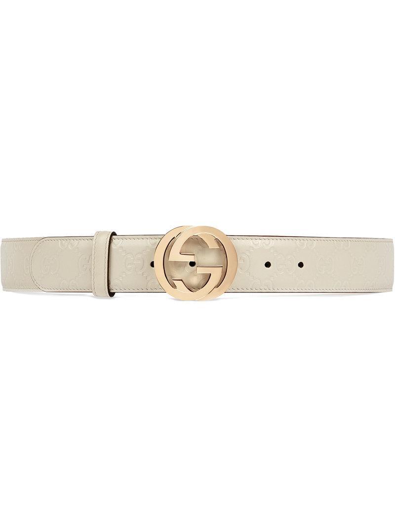 d23f8f4c716 Gucci Signature Leather Belt in White - Lyst