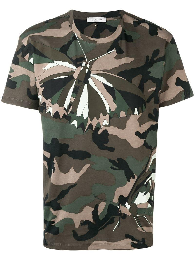 aa0e9f987 Valentino - Green Moth Camouflage T-shirt for Men - Lyst. View fullscreen