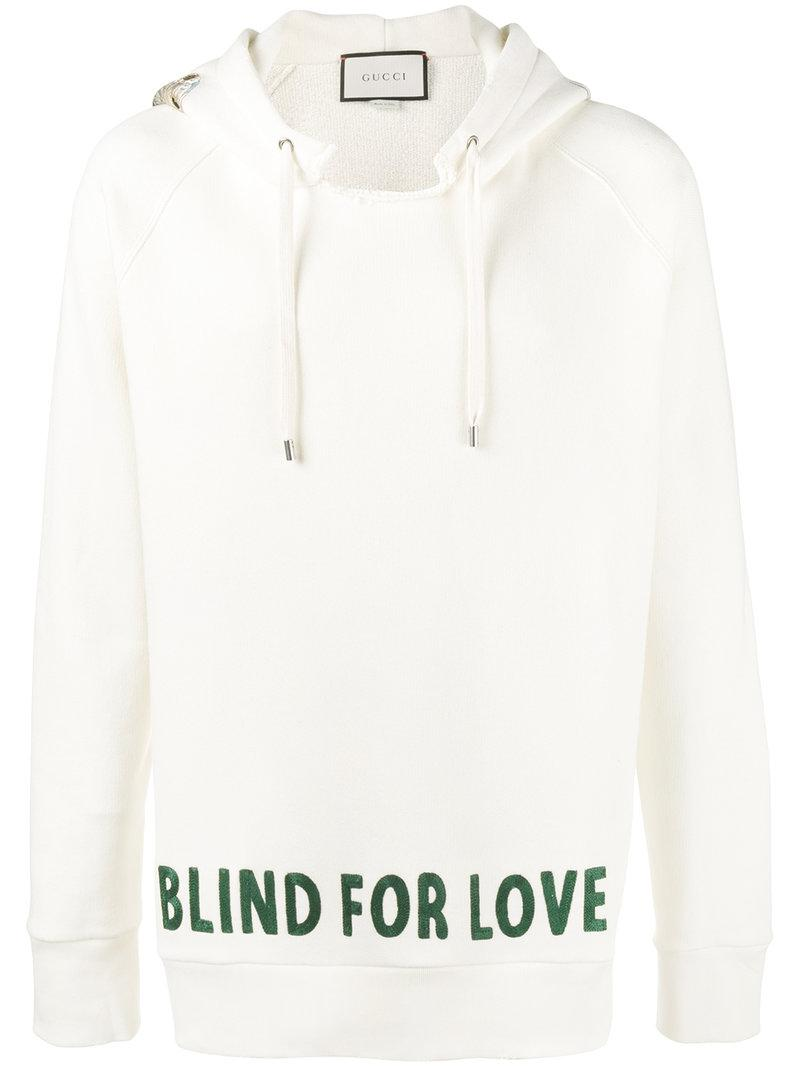4902586bce8 Lyst - Gucci Blind For Love Embroidered Hoodie in White for Men