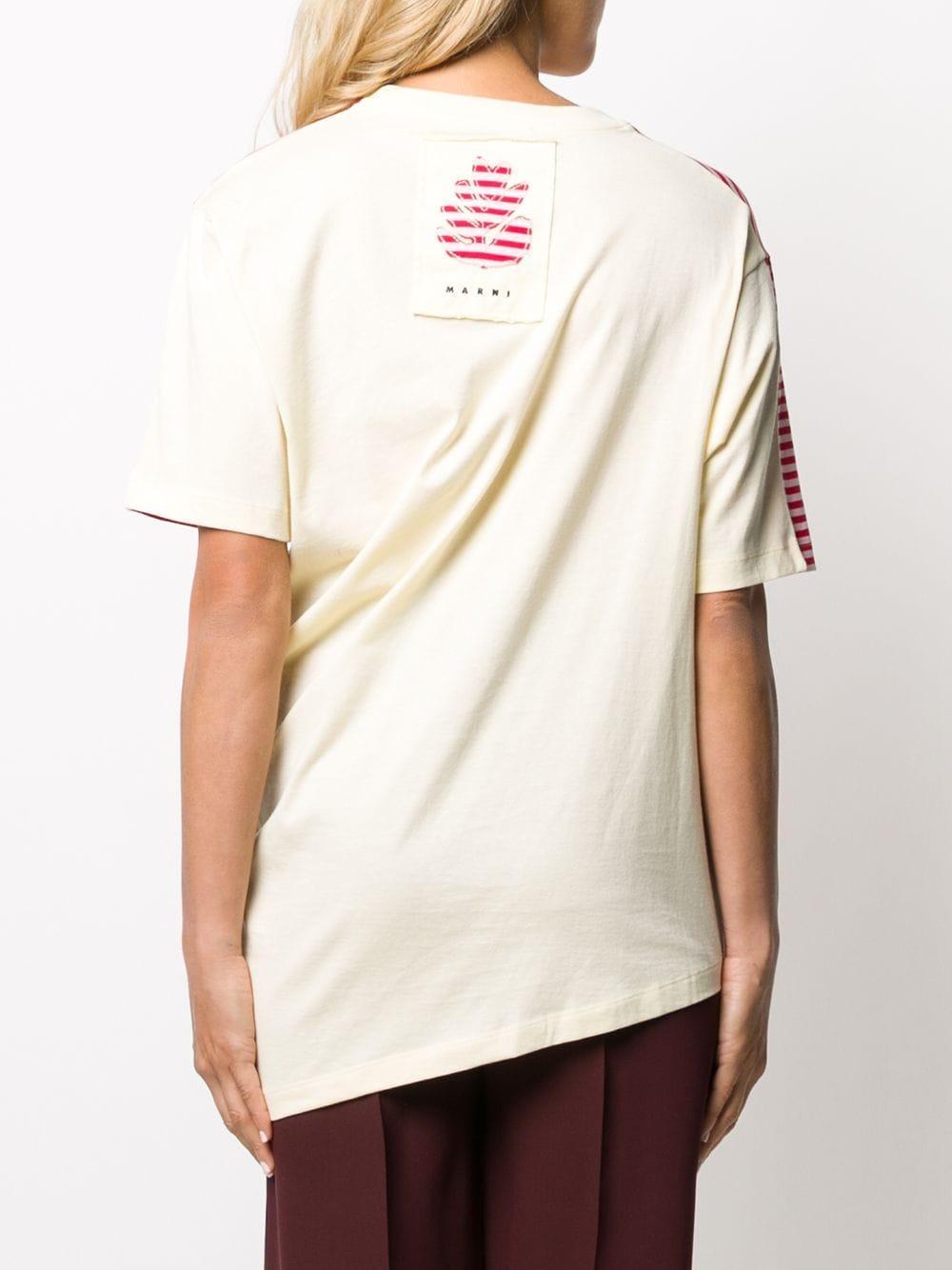 Camiseta asimétrica a rayas Marni de Algodón de color Rojo