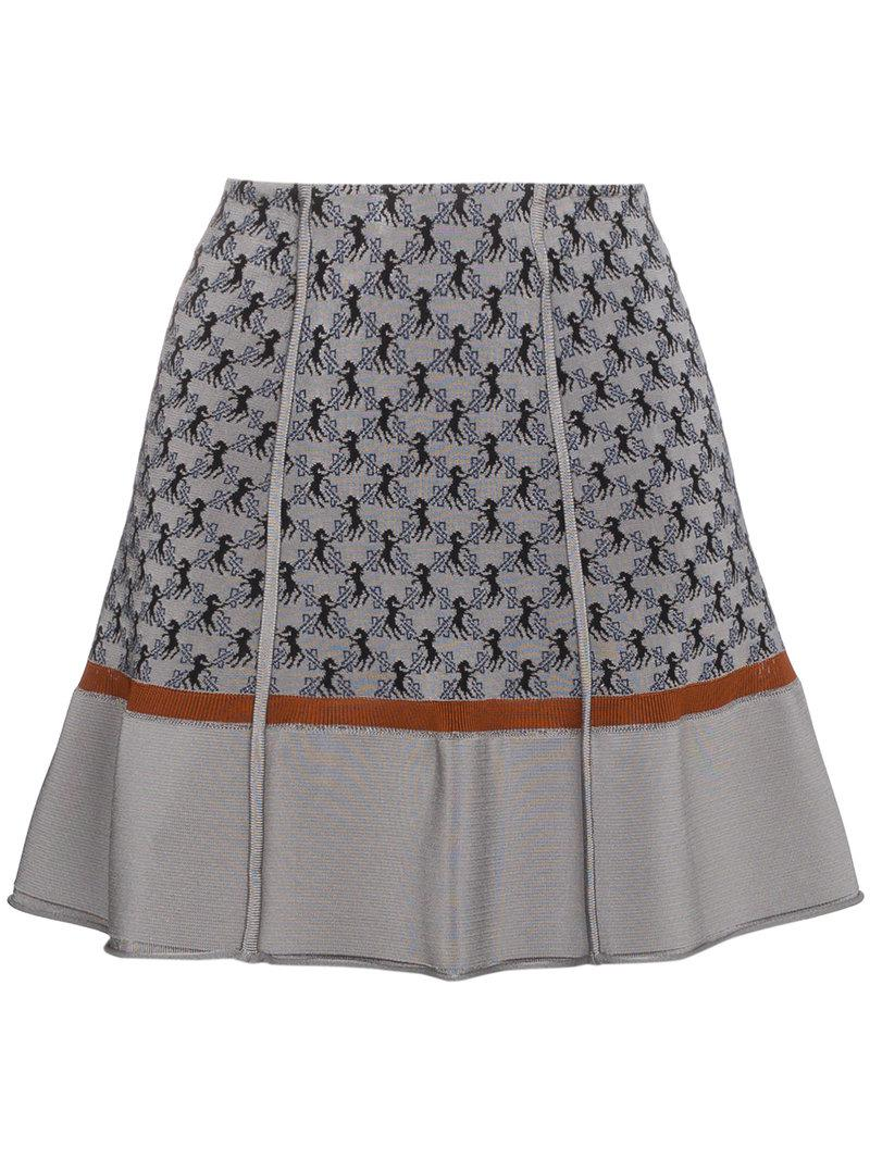 941f002a Chloé Horse Motif Jacquard Knit Mini Skirt in Gray - Lyst