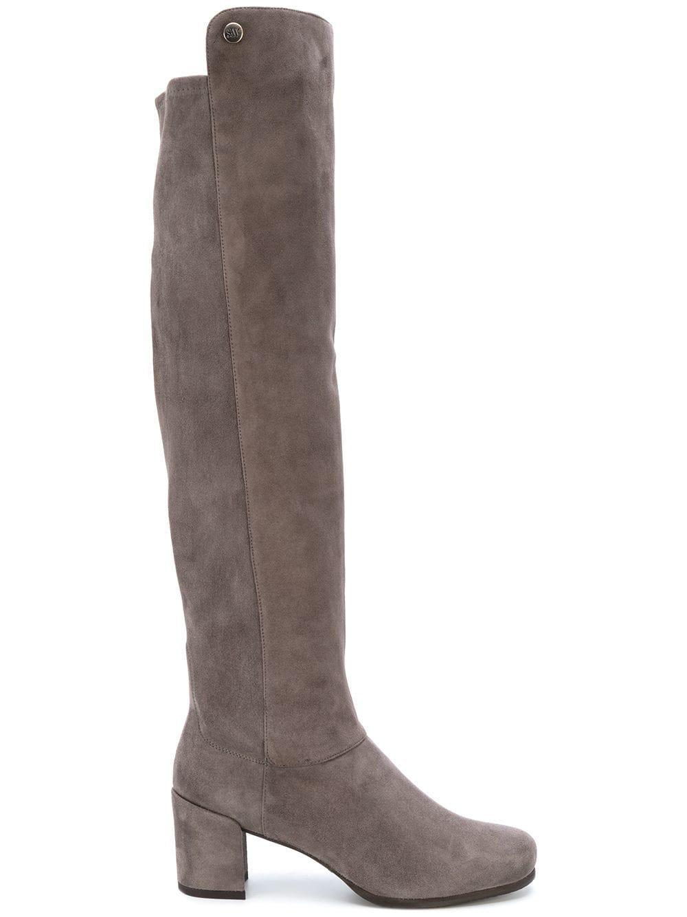 Stuart Weitzman Suede Knee Length Boots in Grey (Grey)