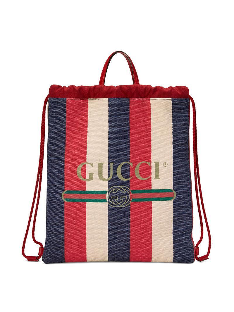 e67a53ec42f84b Lyst - Gucci Print Medium Drawstring Backpack in Red for Men