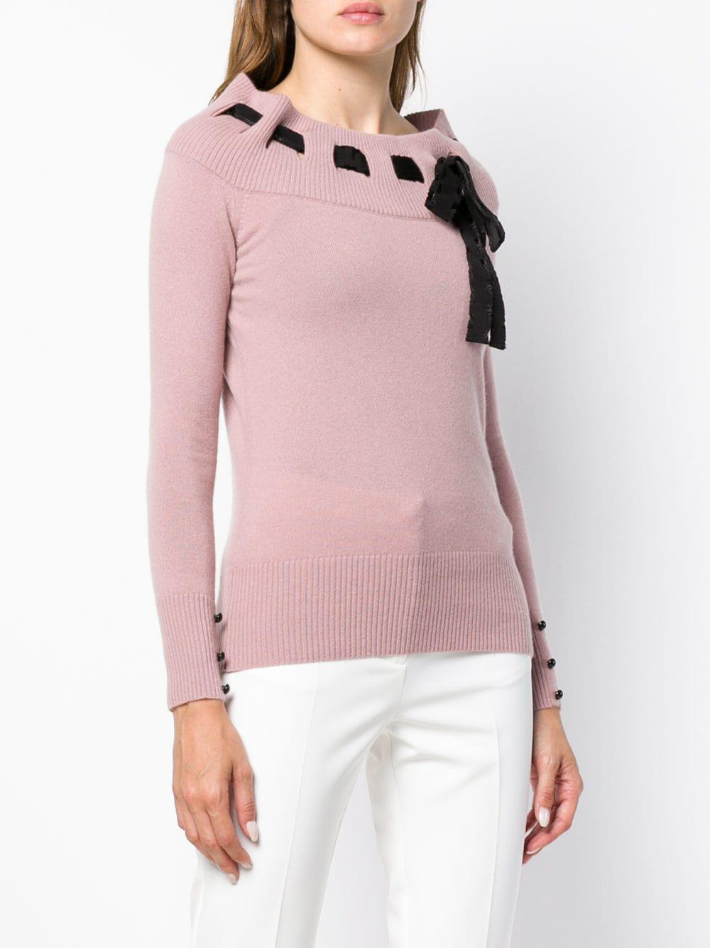 Blumarine Cashmere Bow Detail Sweater in Pink