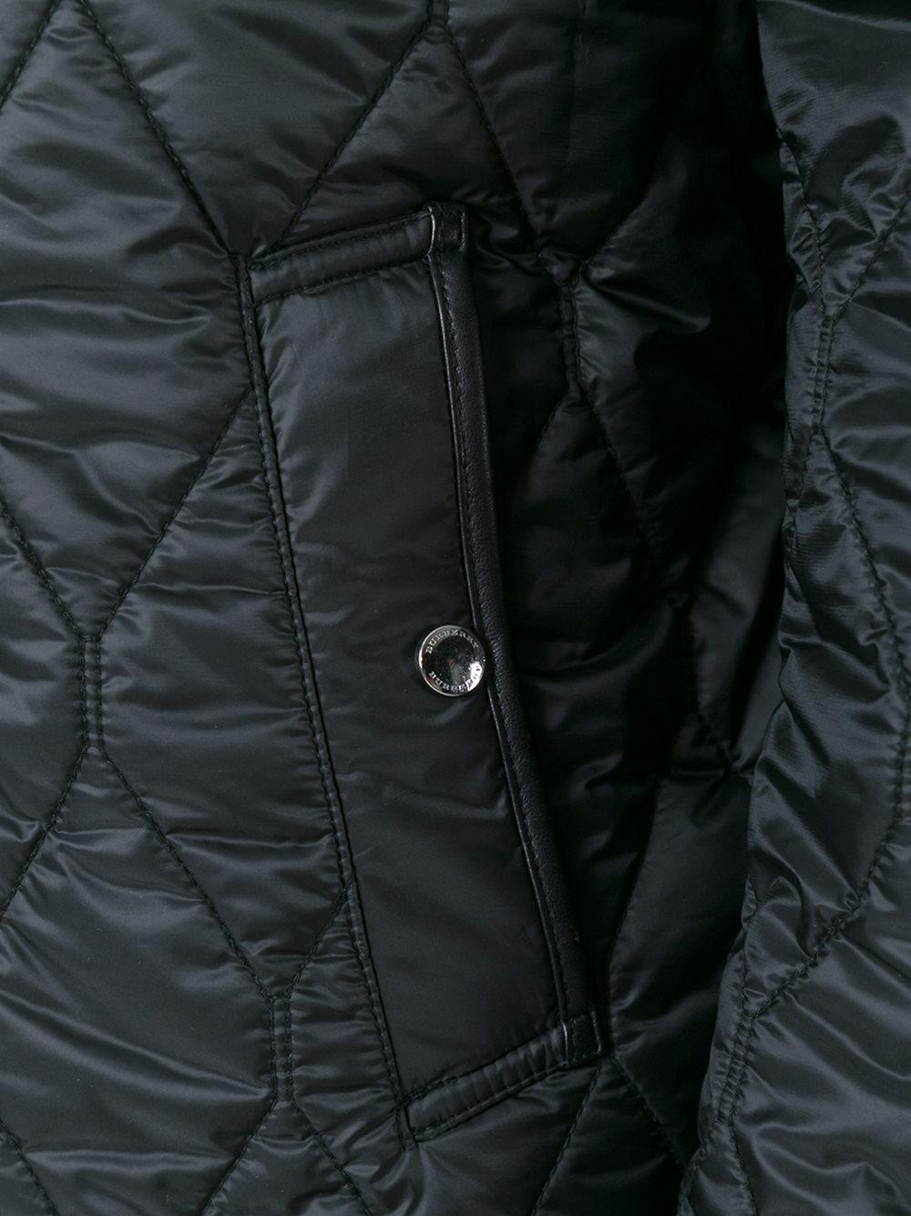 Burberry Cotton Quilted Zipped Jacket in Black for Men