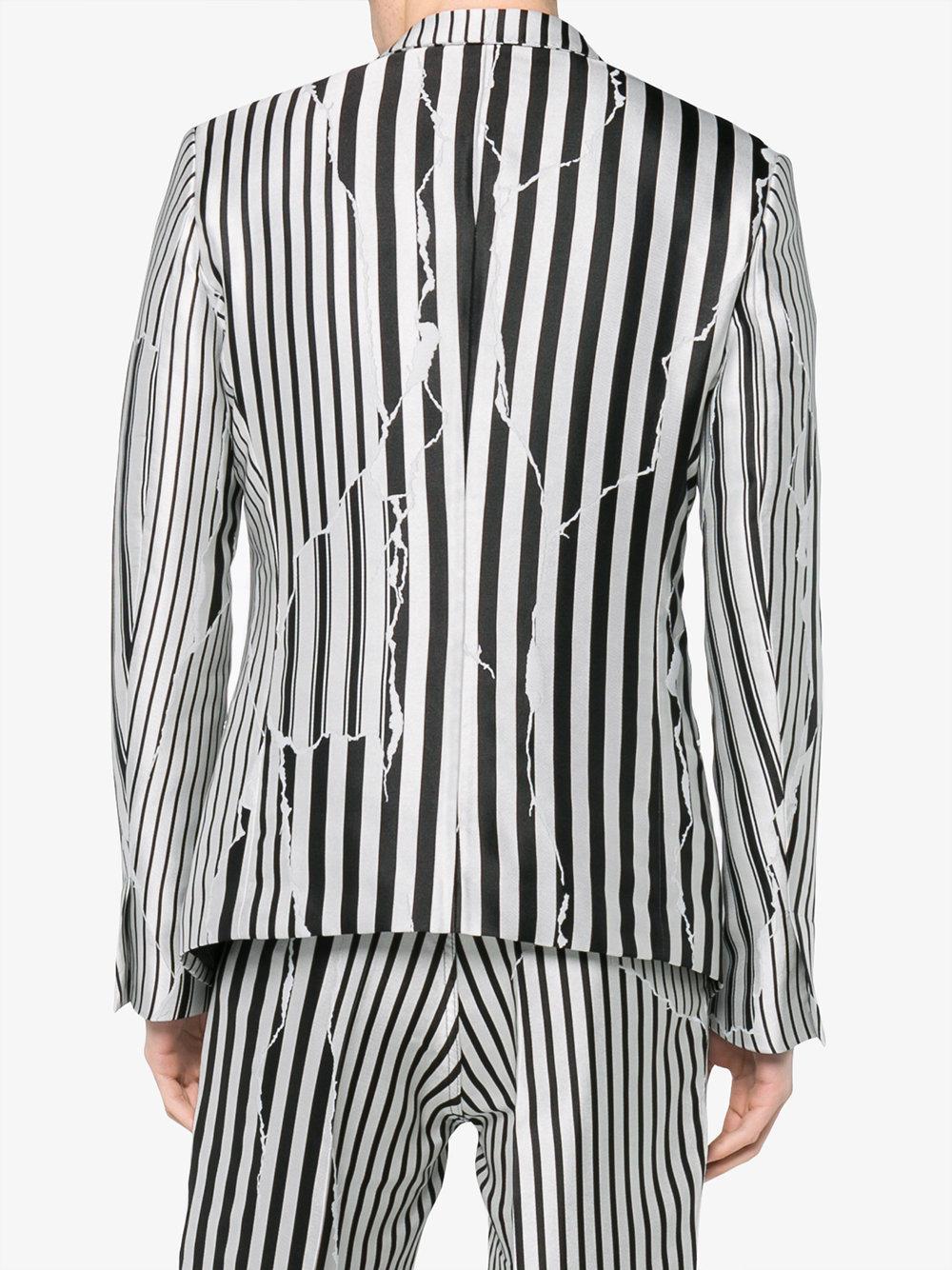 Haider Ackermann Silk Defected Stripe Print Jacket in Black for Men