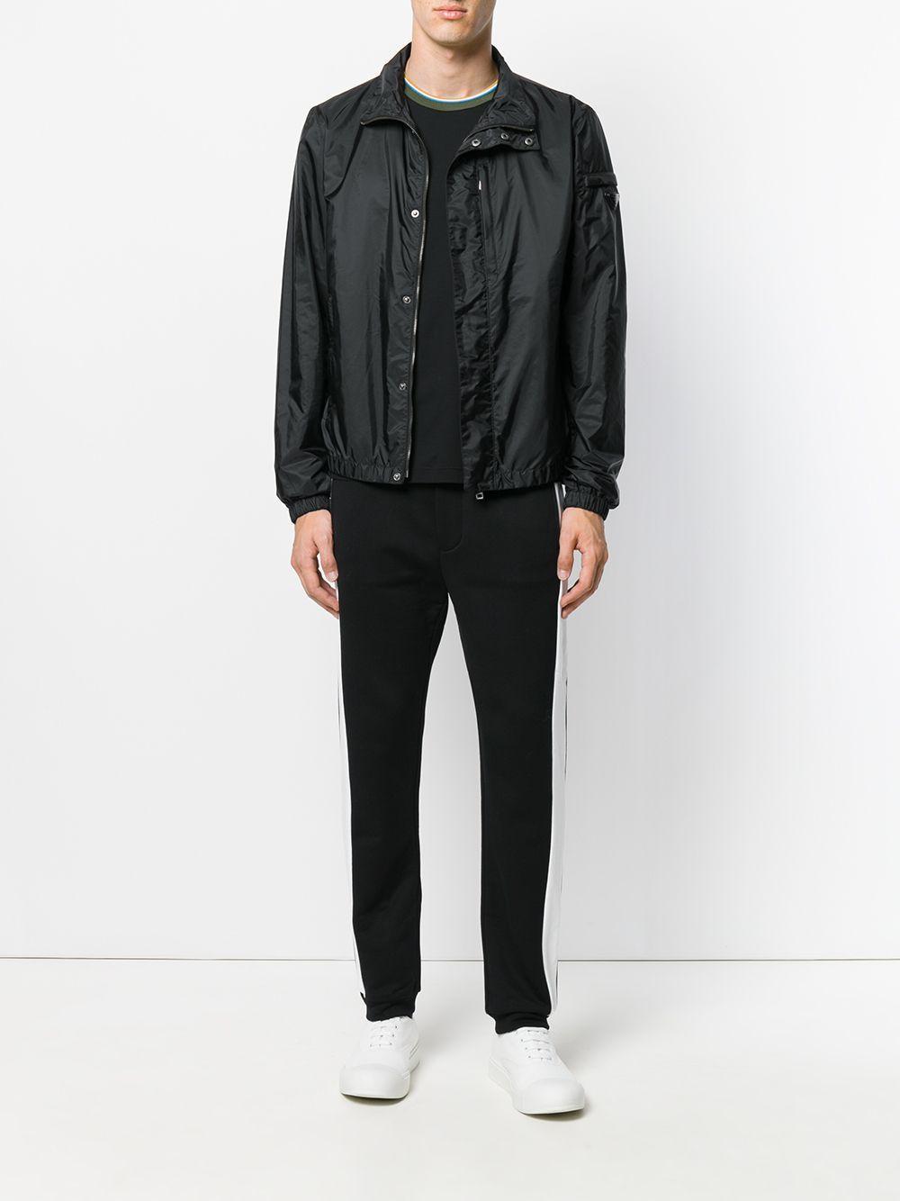 Prada Synthetic Logo Plaque Bomber Jacket in Black for Men