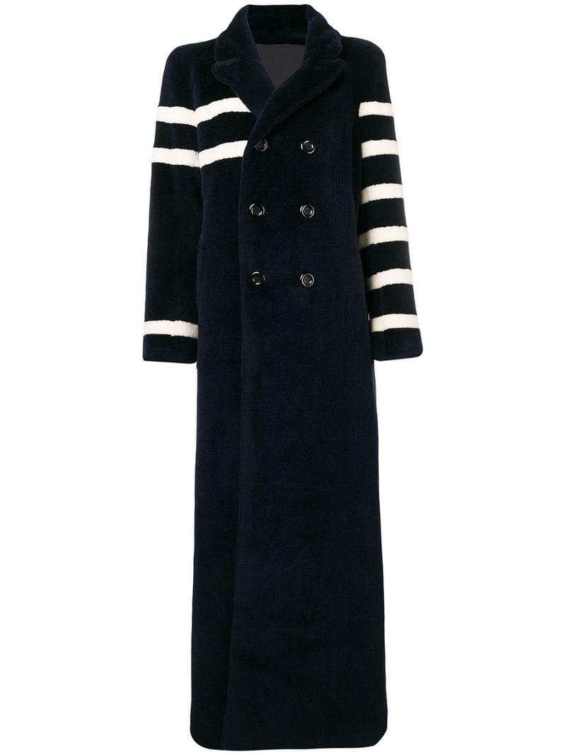 Each X Other Shaved Wool Stripe Pea Coat In Navy White Blue Lyst