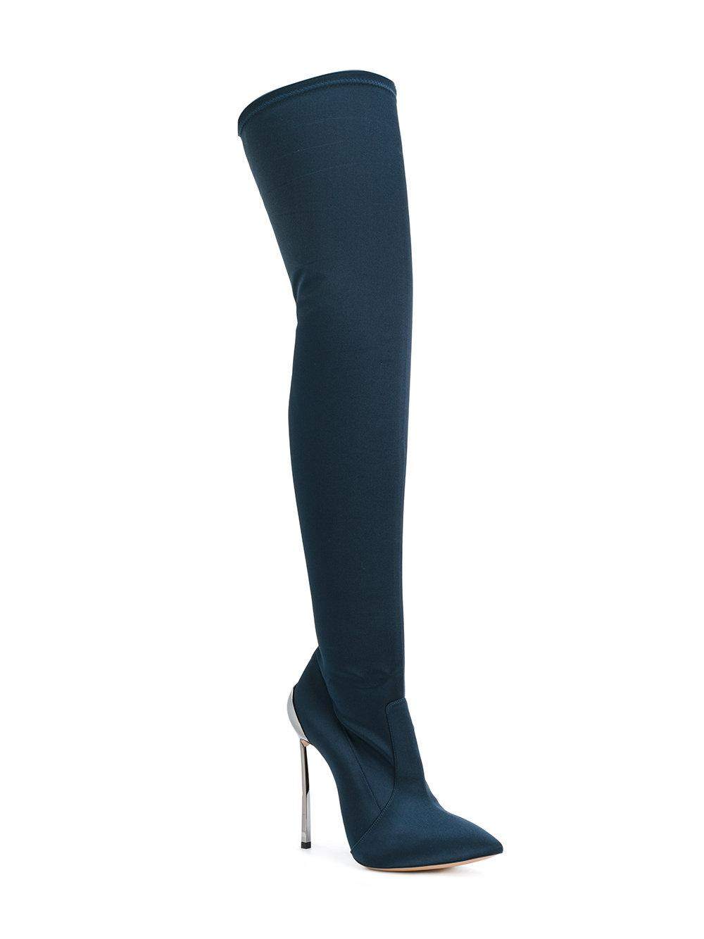 Casadei Silk Over-the-knee Techno Blade Boots in Blue