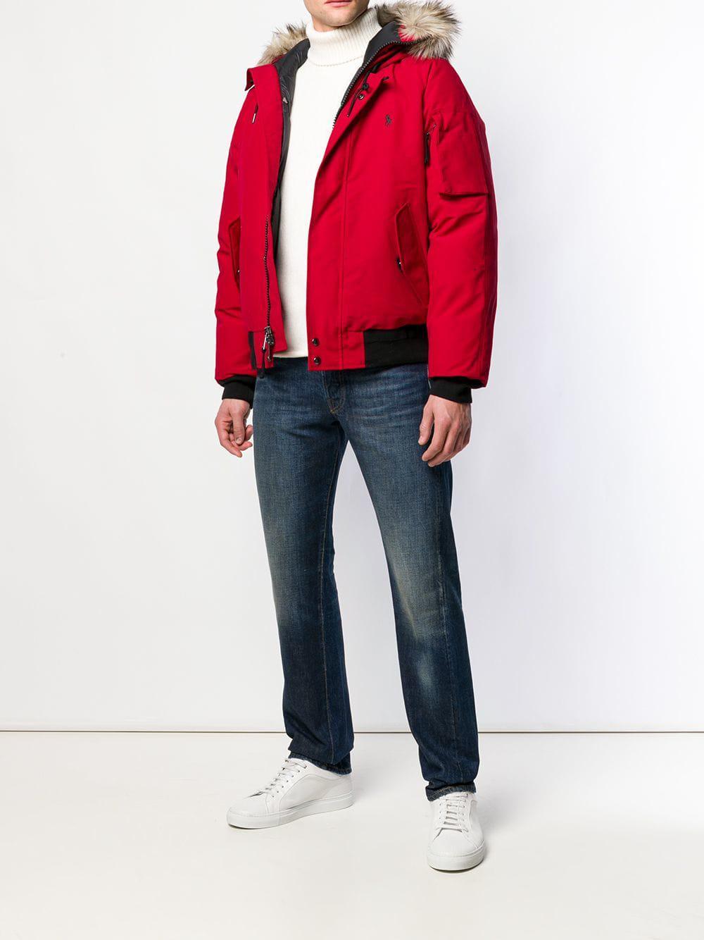 56d0e00a91d5 Lyst - Polo Ralph Lauren Faux Fur-trim Down Jacket in Red for Men - Save 72%
