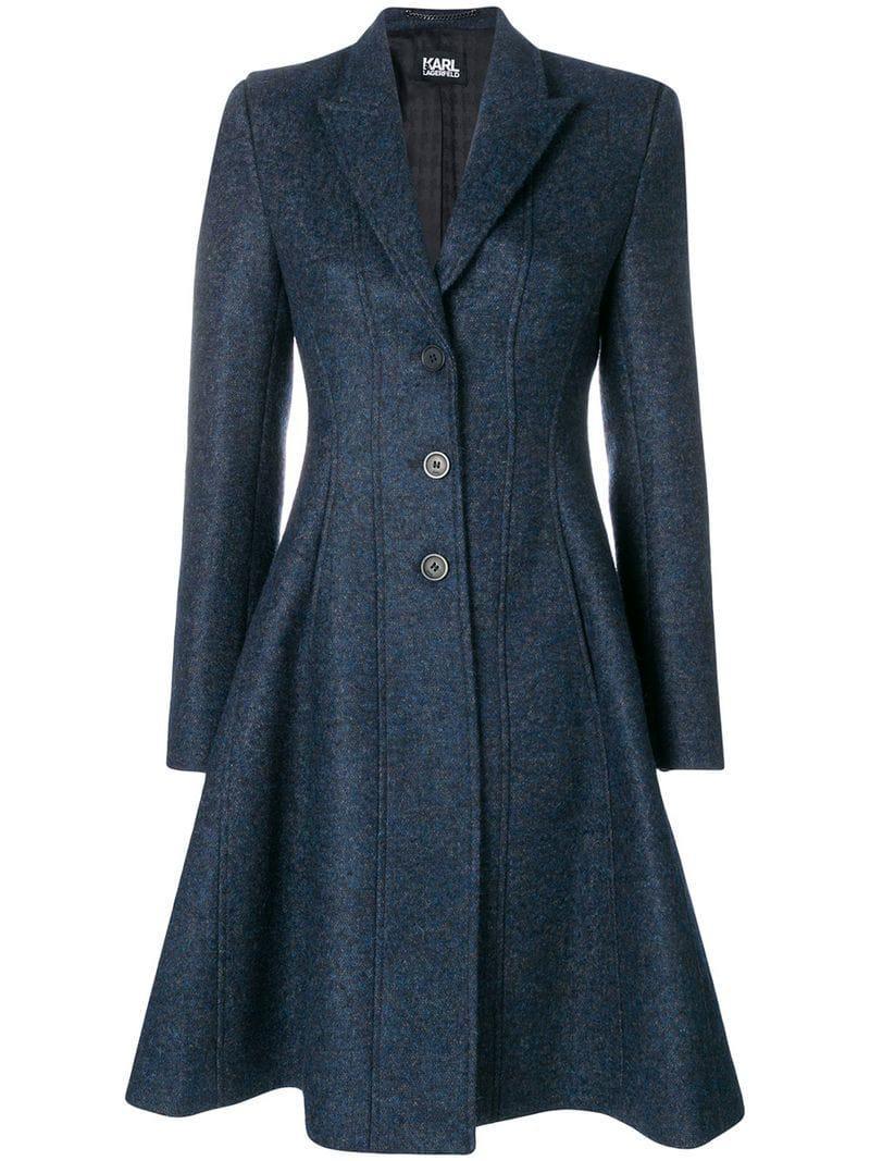 Ausgestellter mantel blau