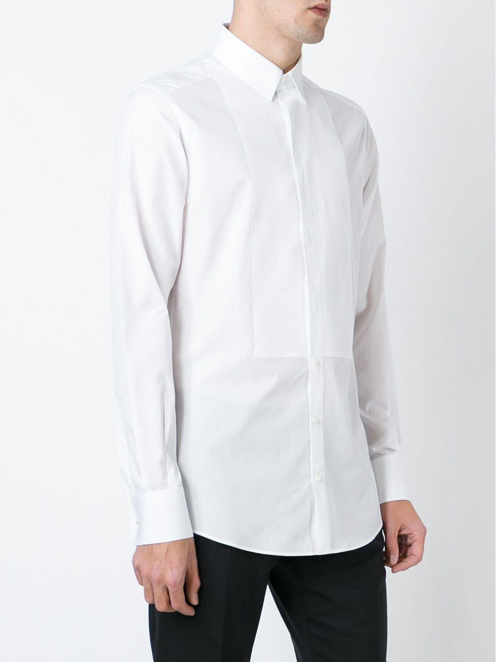 Dolce & Gabbana Cotton Bib Shirt in White for Men