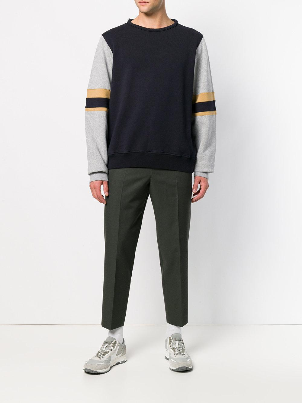 Marni Cotton Contrasting Panel Sweater in Blue for Men