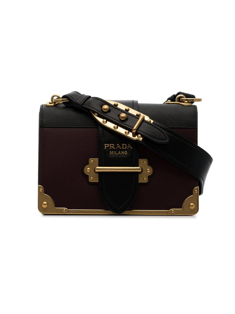 d724ede64d0f Prada Black And Burgundy Cahier Leather Crossbody Bag in Red - Lyst