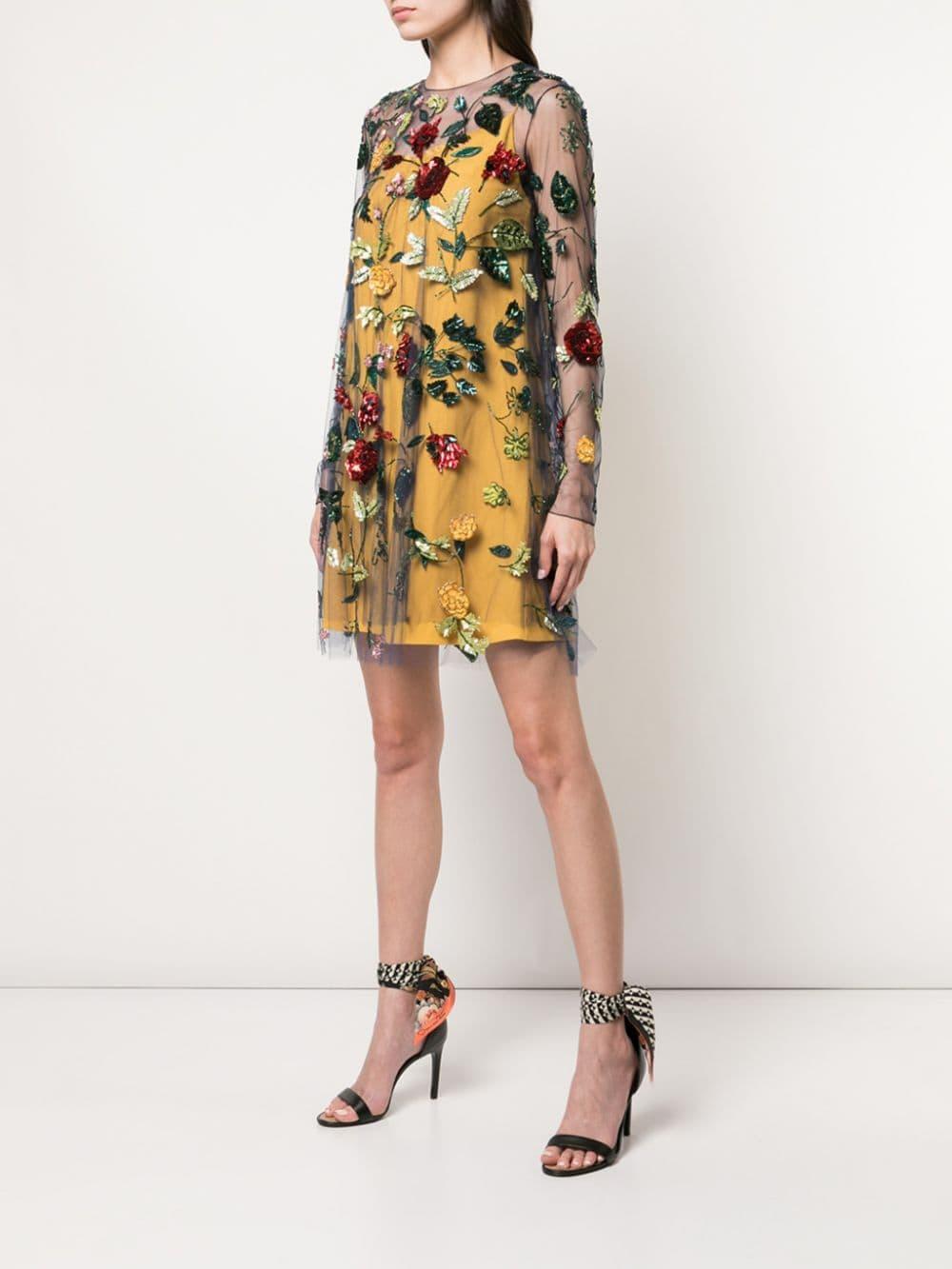 Vestido translúcido con diseño floral bordado Oscar de la Renta de color Azul