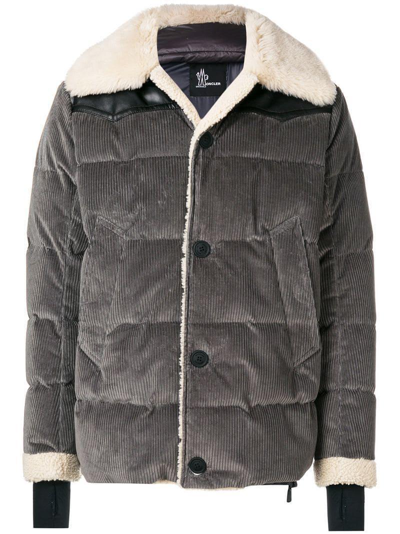 a0af66e3694c Lyst - Moncler Grenoble Shearling Coat in Gray for Men