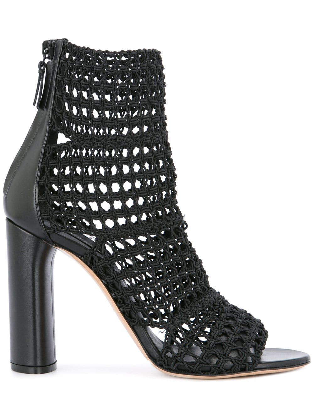 Casadei Leather Macramé Ankle Boots in Black