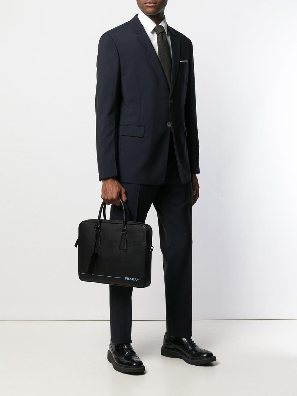 Prada - Black Contrast Logo Laptop Bag for Men - Lyst. View fullscreen c5a408de7f