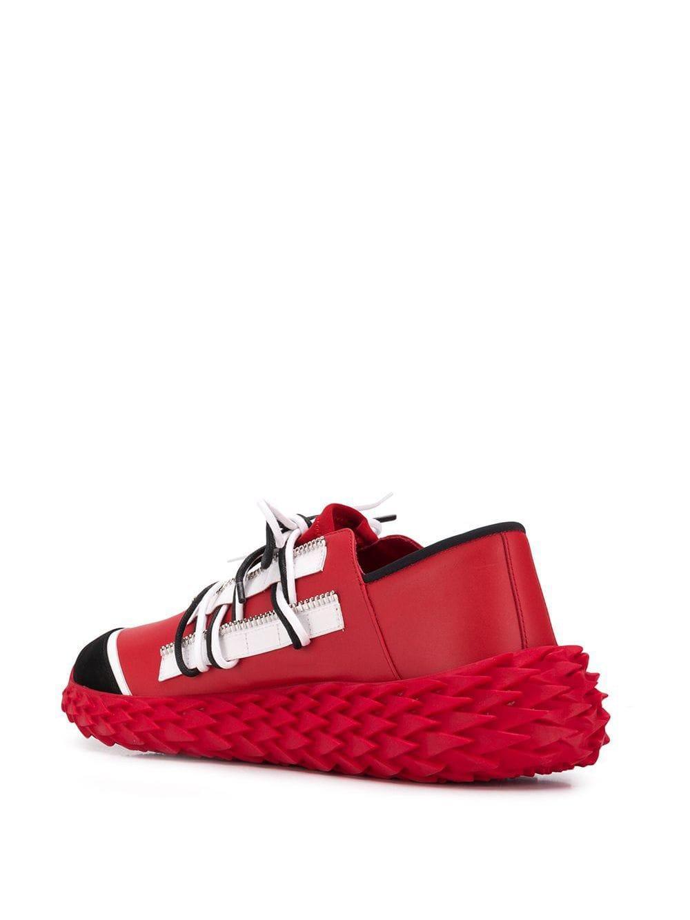 Giuseppe Zanotti Leer Urchin Sneakers in het Rood voor heren