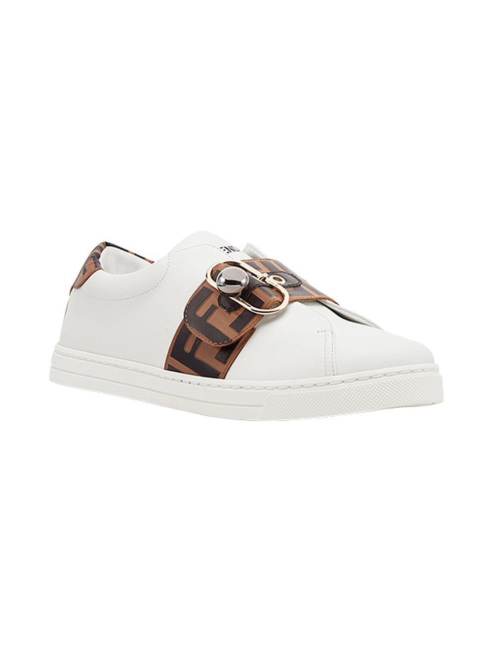 Fendi Fur Ff Band Sneakers in White