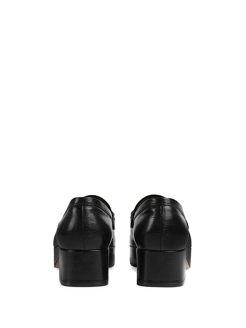 e180eacd3170 Gucci - Black Leather Platform Loafer With Horsebit - Lyst. View fullscreen