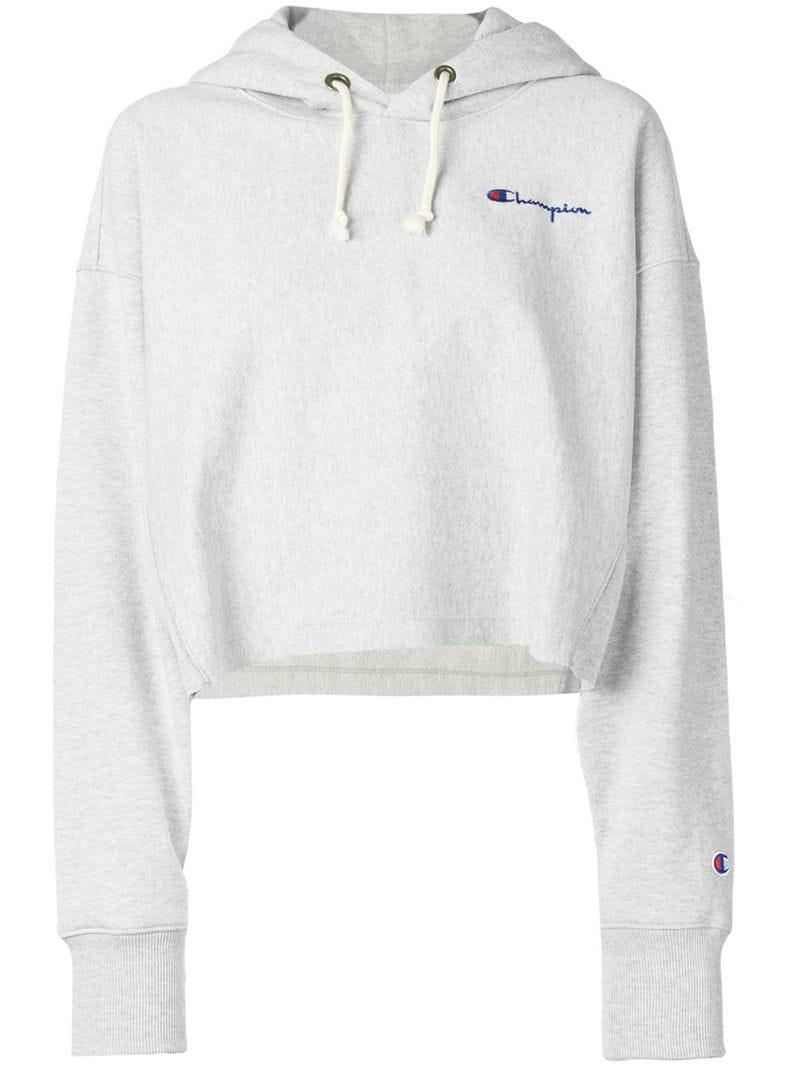 efd2c93199e Lyst - Champion Logo Print Cropped Hoodie in Gray