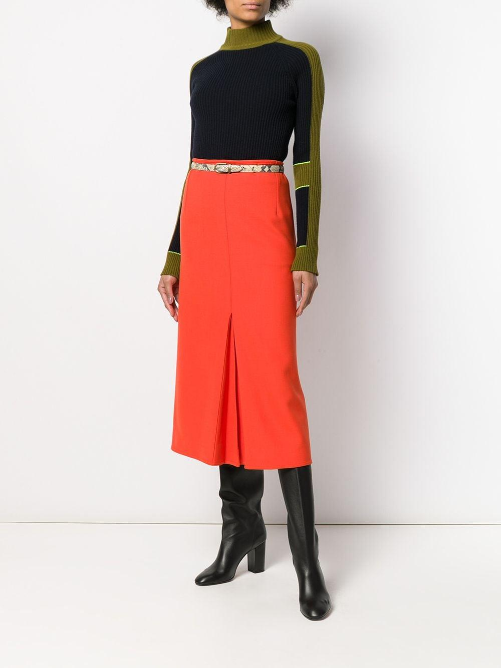 Falda con pliegues Victoria Beckham de Algodón de color Naranja