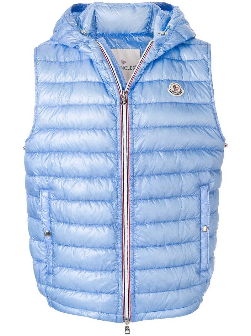 b3093271750f Moncler Down-filled Hooded Gilet in Blue for Men - Lyst