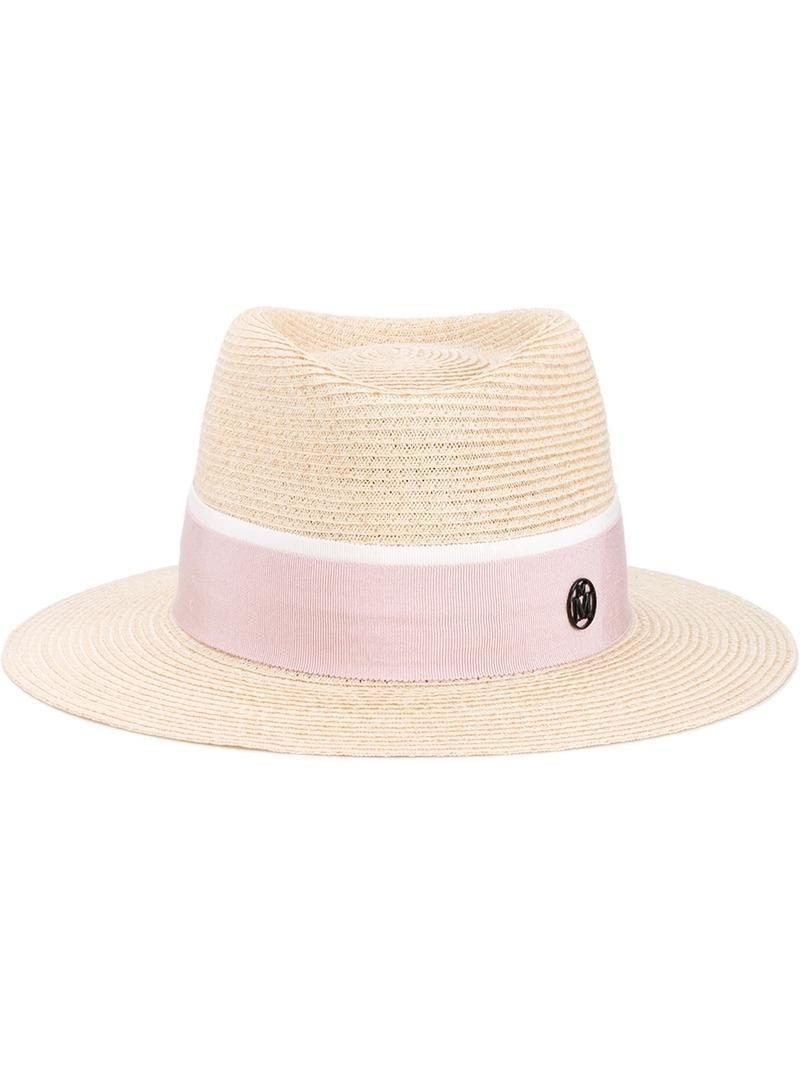 Lyst maison michel 39 andre 39 hat with two tone grosgrain for Maison michel