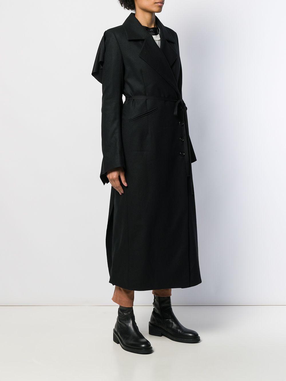 Manteau drapé à volants Laines Ann Demeulemeester en coloris Noir 2VmN1