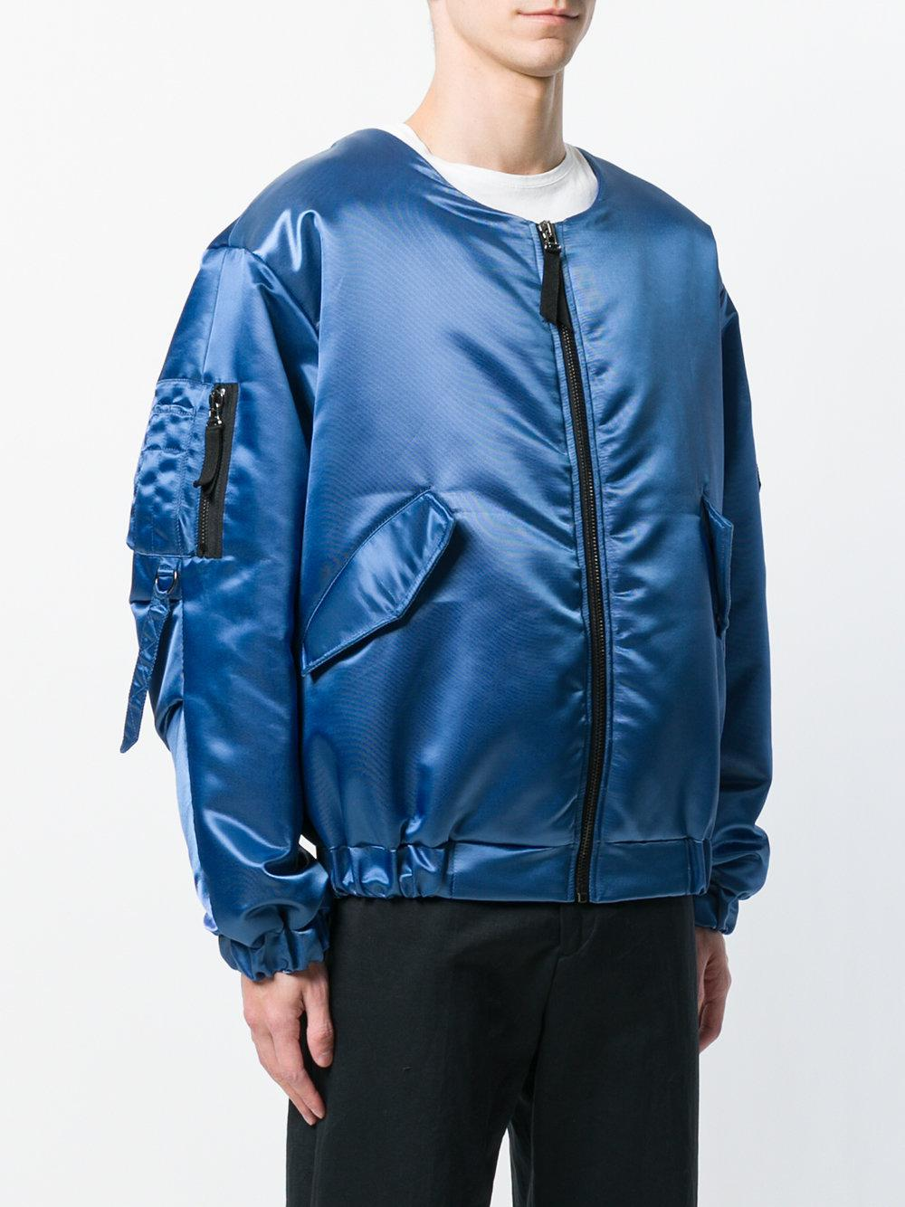 Paura Synthetic Oversized Bomber Jacket in Blue for Men