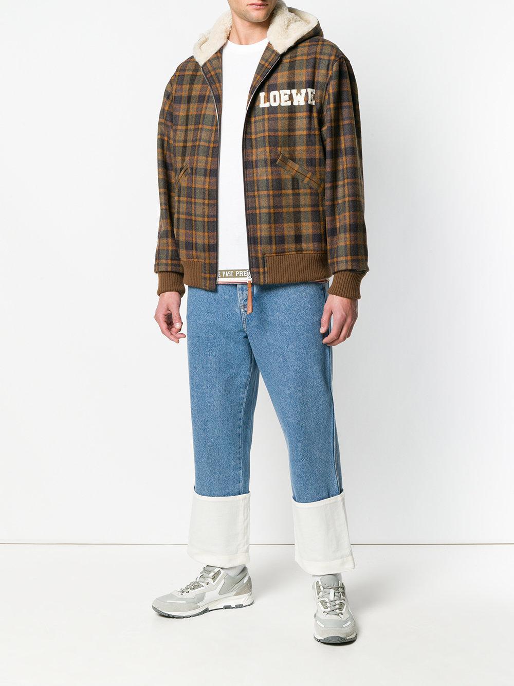 Loewe Wool Brown Tartan Zip Shearling Hood Jacket for Men