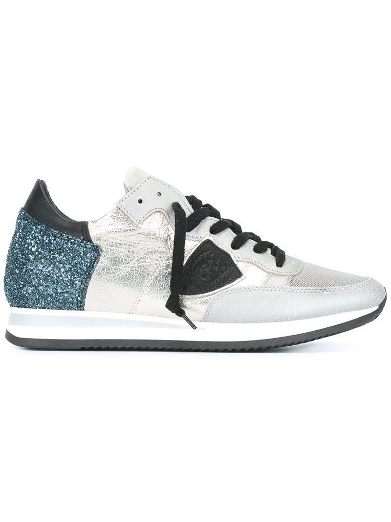 Philippe model Sequin Embellished Sneakers in Metallic