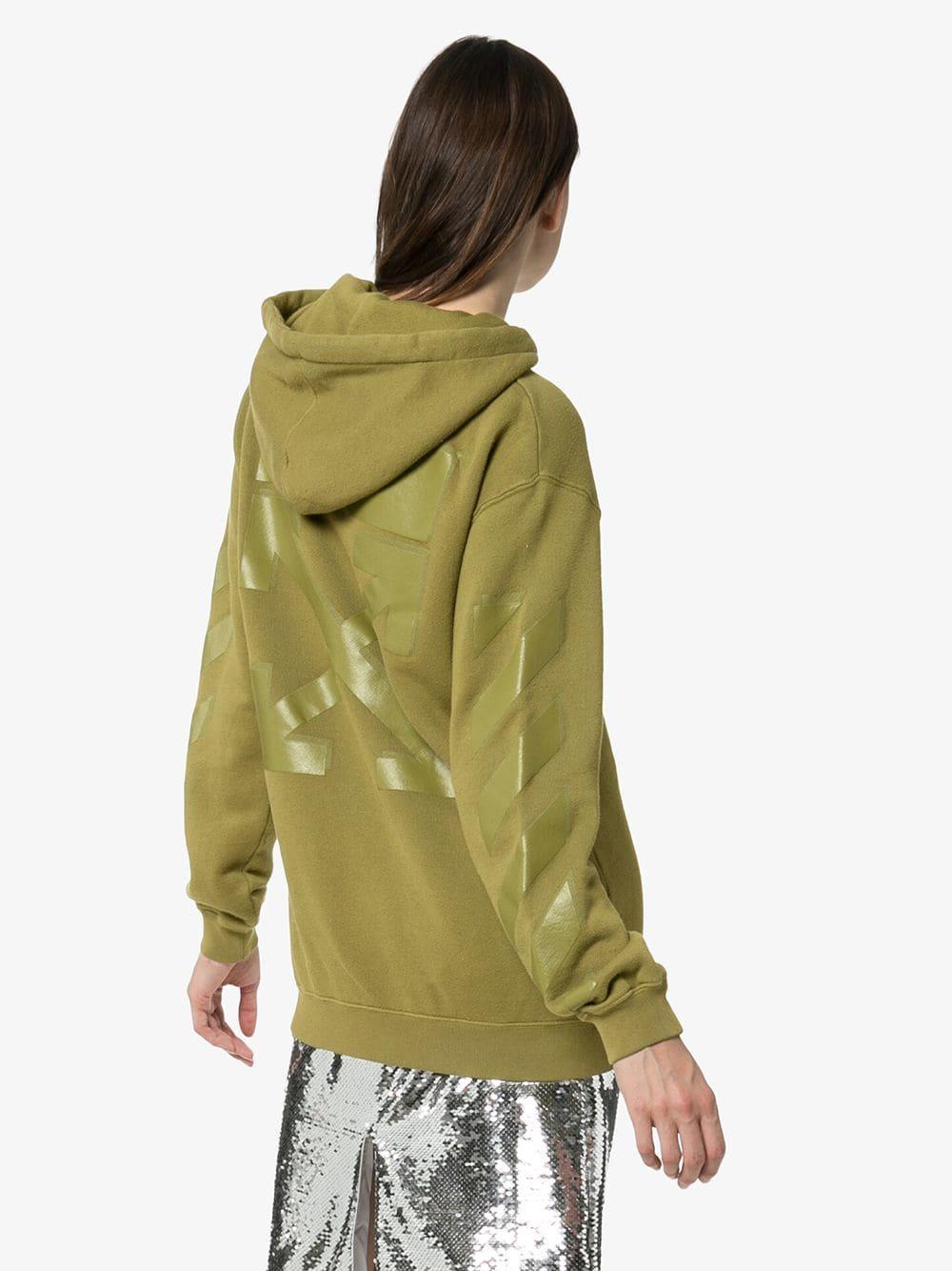 Sweat à capuche à bandes rayées Coton Off-White c/o Virgil Abloh en coloris Vert