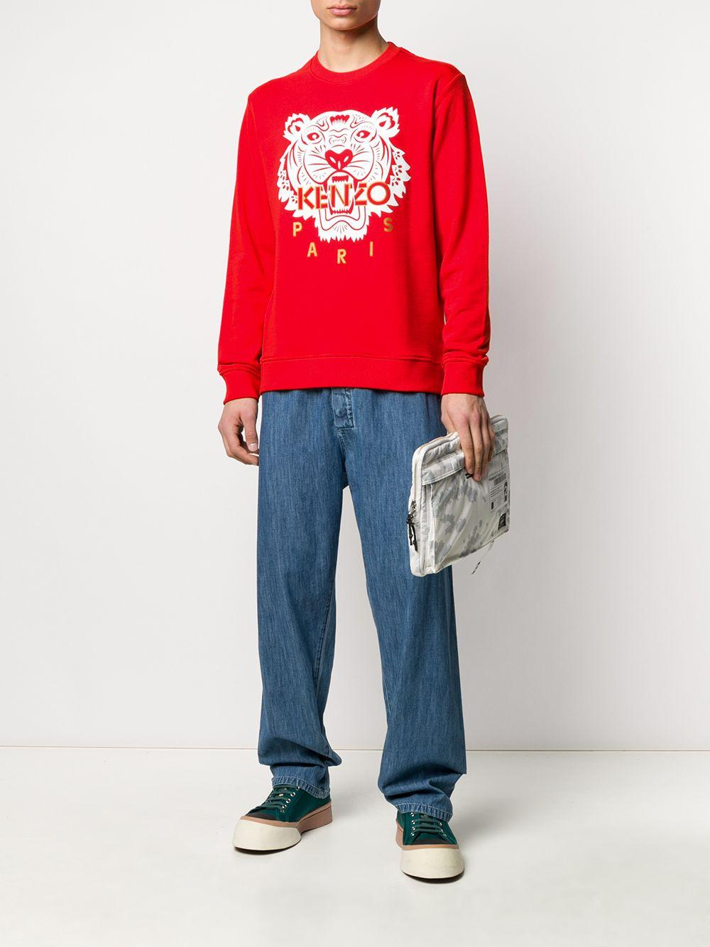 KENZO Katoen Sweater Met Logo in het Rood voor heren