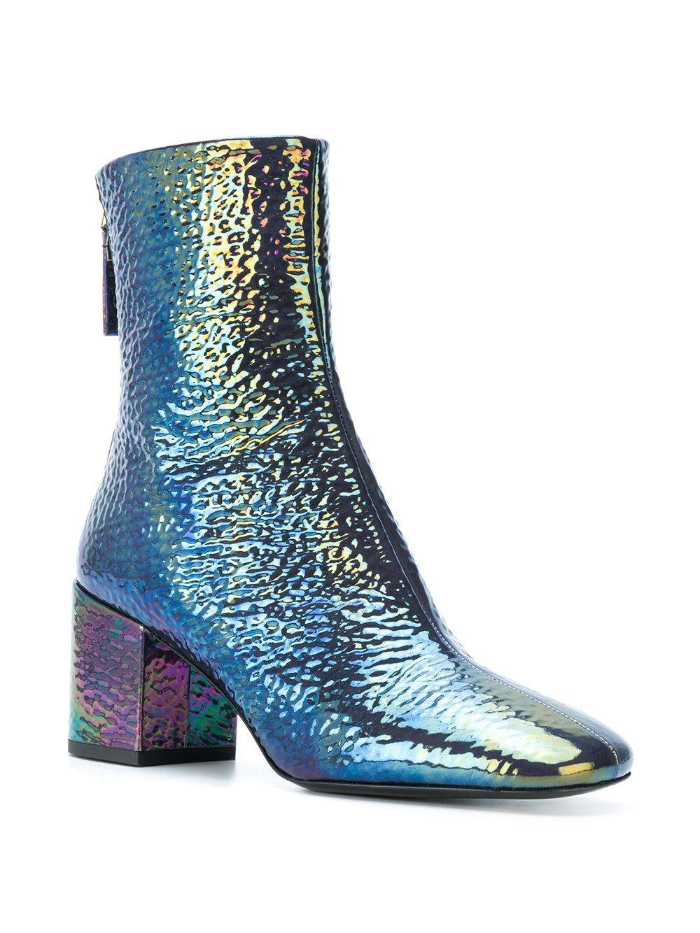 Premiata Leather Iridescent Finish Boots in Blue
