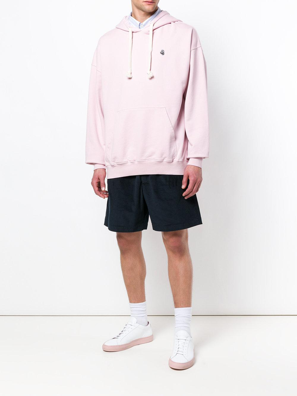 Tres Bien Cotton Embroidered Logo Hoodie in Pink & Purple (Pink) for Men