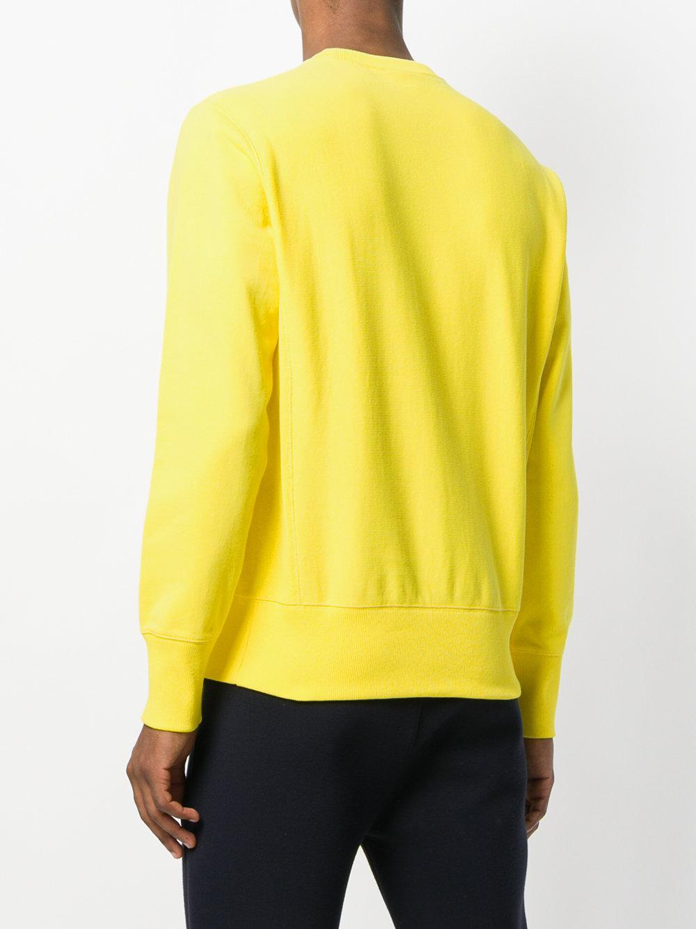 Champion Cotton Reverse Weave Crewneck Sweatshirt in Yellow & Orange (Yellow) for Men