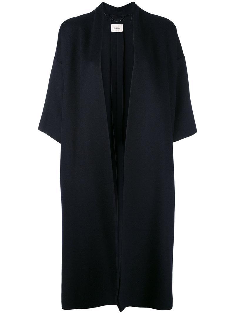lyst dorothee schumacher cape coat in blue. Black Bedroom Furniture Sets. Home Design Ideas