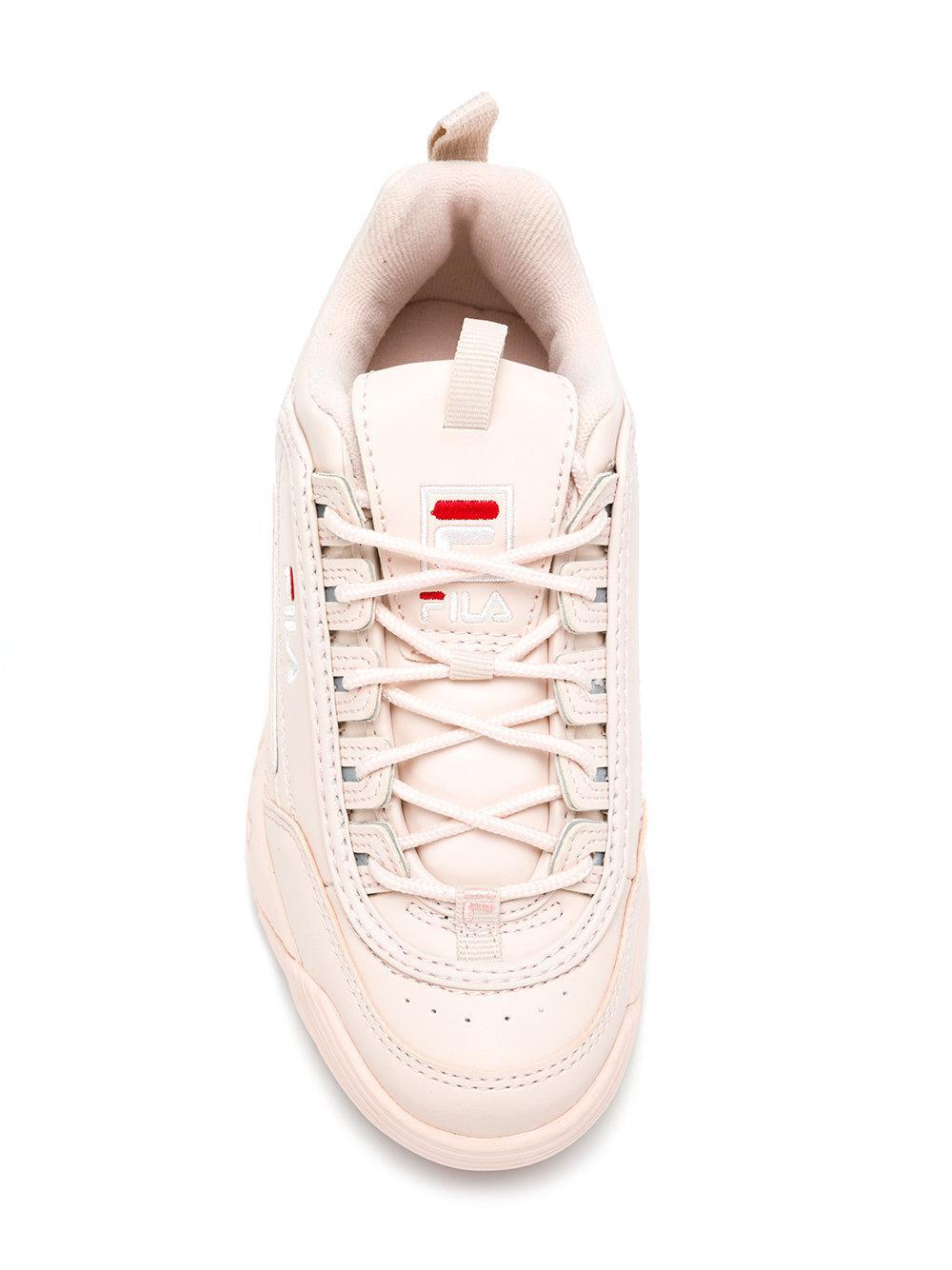 Fila Leather Disruptor Sneakers in Pink & Purple (Pink)