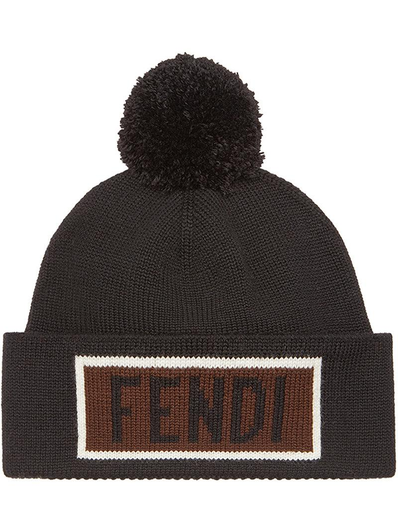 ce06c7e3834 ... Fendi Logo Patch Beanie Hat in Black for Men - Save ... new arrival ...