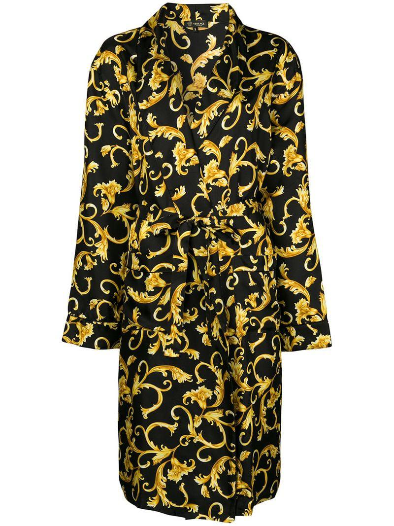 4aac6bc9c3 Versace Printed Robe in Black for Men - Lyst
