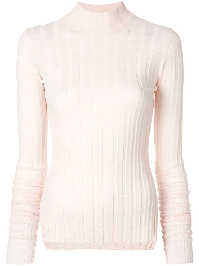 52fb458b19 Lyst - Theory Ribbed Turtleneck Jumper in Pink - Save 2%