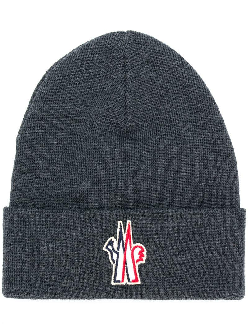 bfca7ef8ebd2a Moncler Grenoble Logo Embroidered Knitted Hat in Gray for Men - Lyst