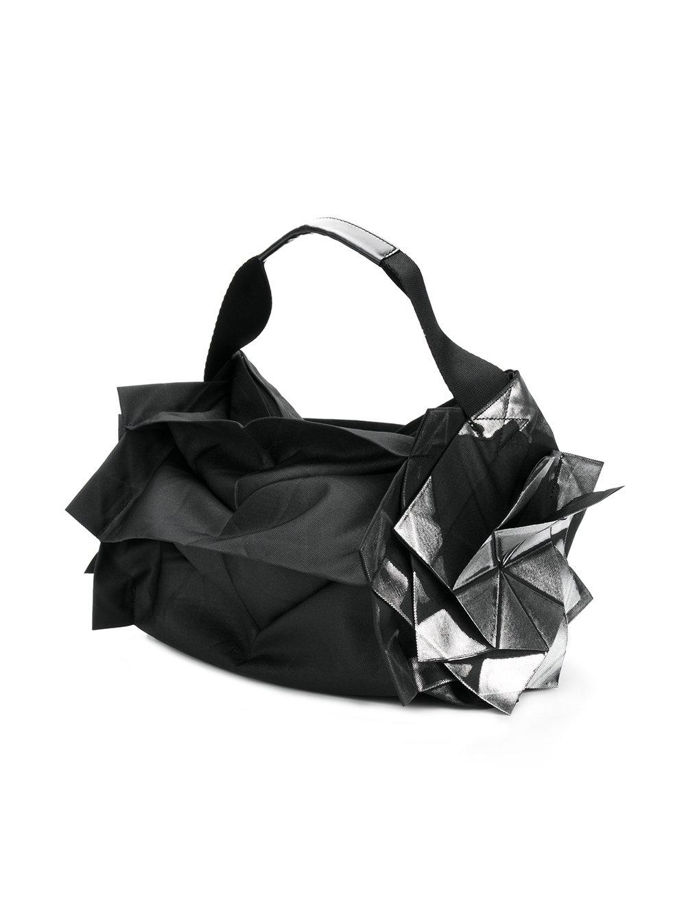 132 5. Issey Miyake Synthetic Structured Metallic Detail Tote Bag in Black